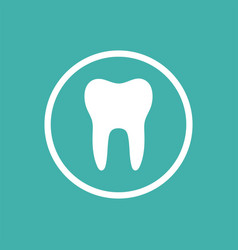 Tooth flat icon with a circle on a green vector