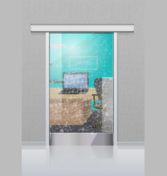 Transparent office glass door to study with laptop vector
