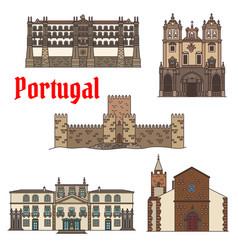 Travel sight of portuguese architecture icon set vector