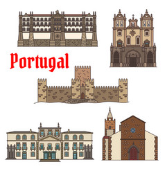 travel sight portuguese architecture icon set vector image