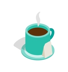 Turquoise cup of tea icon isometric 3d style vector image