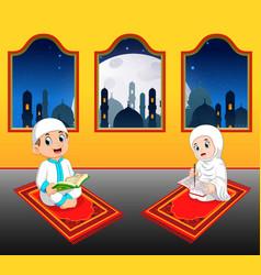 two cte children are reading al quran vector image