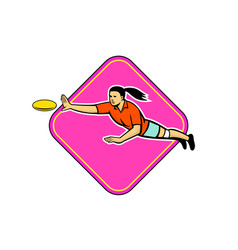 Ultimate frisbee player catching disc mascot vector