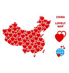 valentine china map mosaic of hearts vector image