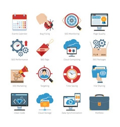 Web Development And SEO Flat Icons Set vector