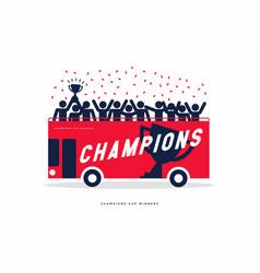Winner cup soccer celebration on open top bus vector