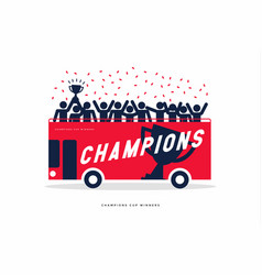 winner cup soccer celebration on the open top bus vector image
