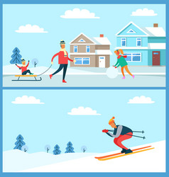 Wintertime family and skier vector