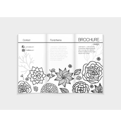 Black and white floral brochure template design vector image vector image