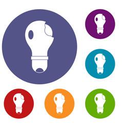 broken lightbulb icons set vector image vector image