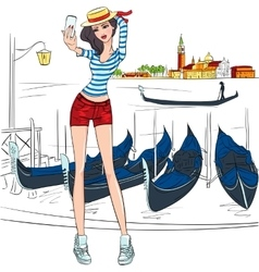 lovely fashion girl makes selfie in Venice vector image