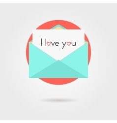 open letter and i love you inscription on red vector image