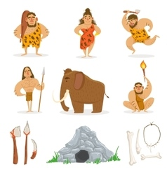 Stone Age Tribe People And Related Objects vector image