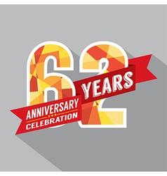 62nd Years Anniversary Celebration Design vector image