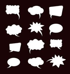 a set of flat comic bubbles vector image