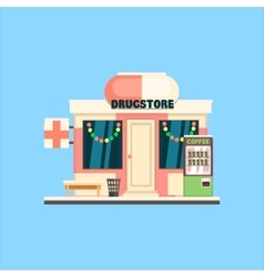 Drugstore Front in Christmas vector image vector image