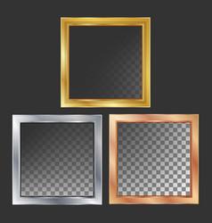 Gold silver bronze copper metal frames vector