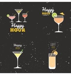 Happy hour labels vector