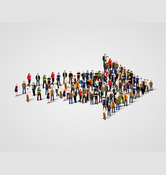 large group of people crowded in arrow symbol way vector image