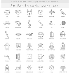 Pet ultra modern outline line icons for web vector image