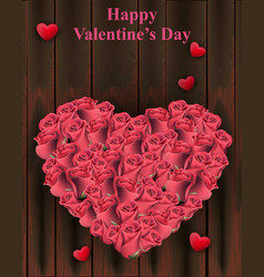 roses heart shape on wood background vector image