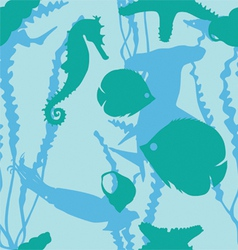 underwater world of seamless background vector image vector image