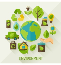 Ecology background with environment icons vector image