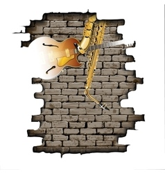 Guitar and saxophone in the brick wall vector image vector image