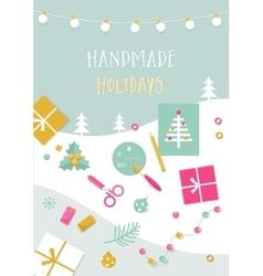Handmade Holidays Card Tools Crafts and vector image
