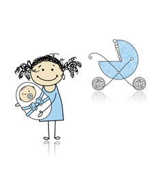 Mother walking with buggy newborn baby vector image