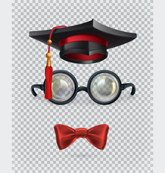 square academic cap mortarboard glasses and bow vector image