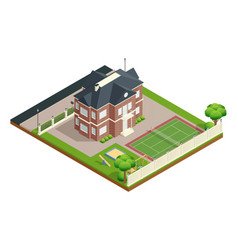 suburb house isometric composition vector image vector image
