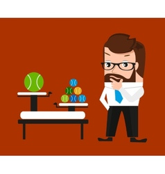 Businessman is pondering about clod technologies vector image vector image