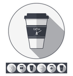 Coffee paper cups set coffee to go flat icons vector