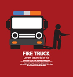 Fire Truck With A Man vector image vector image