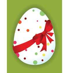 Funny egg with a red bow vector image vector image