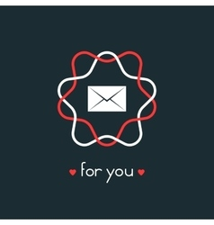 letter for you with red and white sign vector image vector image