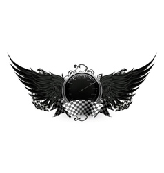 Wings black racing emblem vector