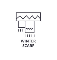 winter scarf line icon outline sign linear vector image