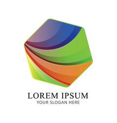 abstract cube modern logo identity beautiful vector image