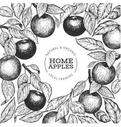 Apple branch design template hand drawn garden vector