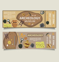 archaeological museum ticket template set vector image
