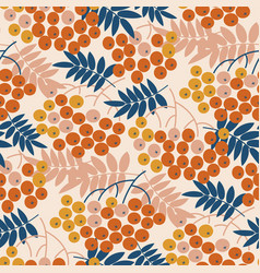autumn decorative rowanberry seamless pattern vector image