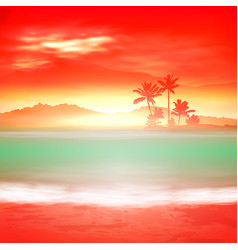 background with sea and palm trees vector image vector image