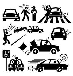 Bad car driver furious driving pictograph an angry vector