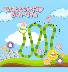 Boardgame template with butterflies in garden vector