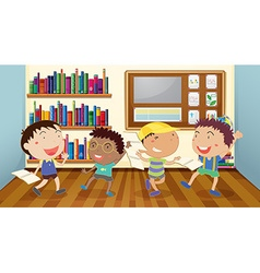 Boys reading books in classroom vector image vector image