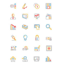 Business and Finance Colored Outline Icons 6 vector