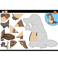 Cartoon platypus jigsaw puzzle game vector
