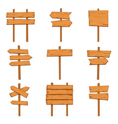 cartoon wooden arrows blank wood signboards and vector image